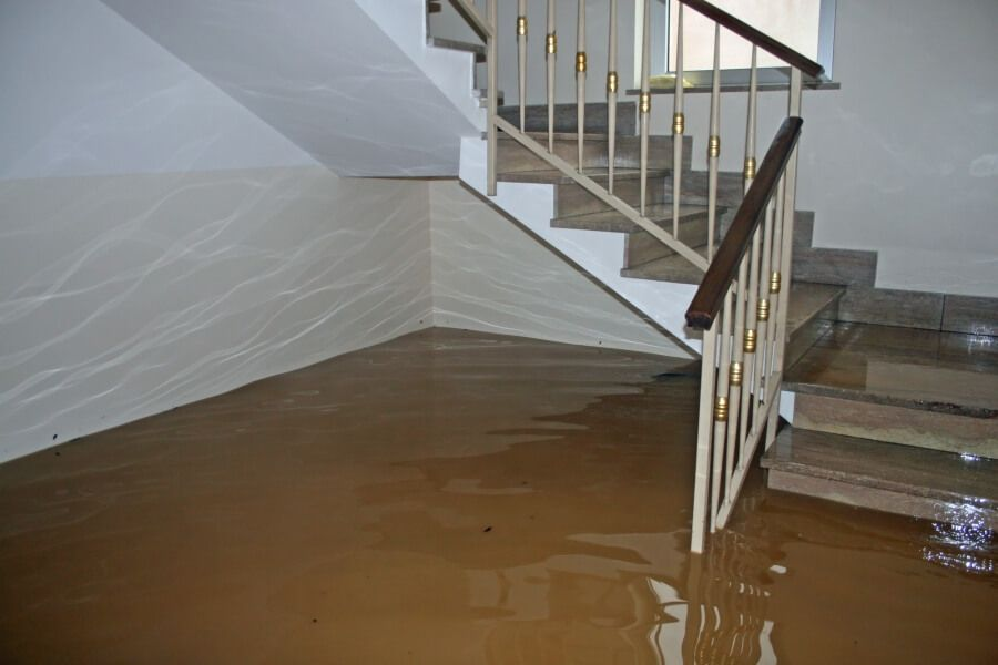 Flooded stairs